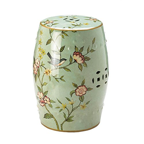 Accent Plus Patio Ceramic Stool, Chinese Ceramic Stools, Decorative With Birds And Flowers by Accent Plus
