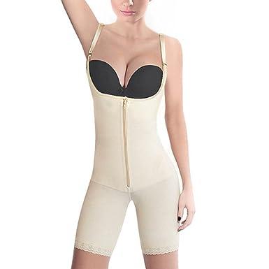 eaf5cc68ecaba Amazon.com  AVENBER Women Lace Hem Latex Full Body Shaper with Zip and Clips  Hollow Shapewear  Clothing