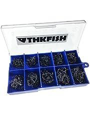 THKFISH Anzuelos de pesca, 500 piezas # 3 ~ # 12 Anzuelos de pesca de agua salada Anzuelos de pesca de agua dulce Anzuelos de pesca vienen con caja de transporte minorista Anzuelos de pesca