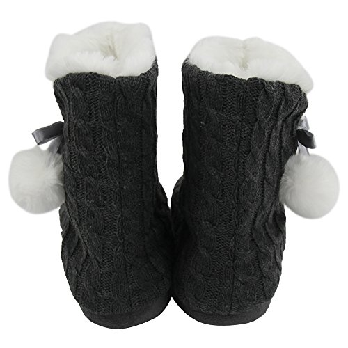 Home Slipper Womens Soft Fleece Plush Warm Indoor House Slipper Boots Shoes Taupe/Pom-pom 39zXjgqP