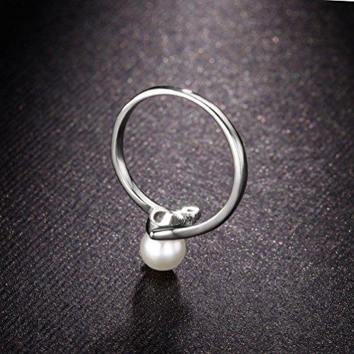 """redfly elegante perla simulada 0,2""""18ct chapado en oro blanco Mujeres Anillos"""
