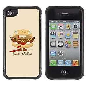 Be-Star único patrón Impacto Shock - Absorción y Anti-Arañazos Funda Carcasa Case Bumper Para Apple iPhone 4 / iPhone 4S ( Funny Minister Of Hot Dogs Burger )