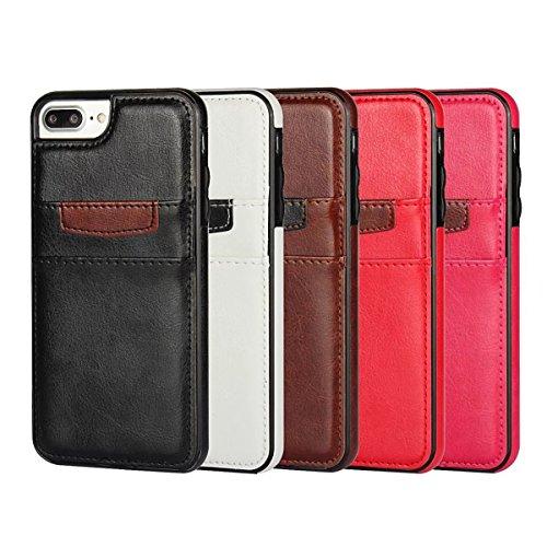 """MOONCASE iPhone 7 Plus Hülle, Zebra-Textur PU Leder Spleiß mit Kartenfächer TPU Case für iPhone 7 Plus 5.5"""" Weiß"""
