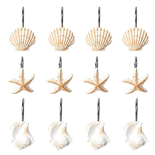 Artown Decorative Polyresin Shower Curtain Hooks Rings for Bathroom Bathtubs Home Decor, Seashell Starfish Conch Sea Ocean Beach Theme, Set of 12 Hooks for Shower Rods