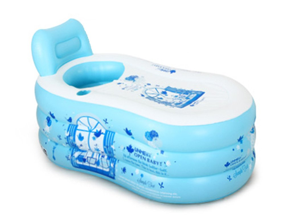 Inflatable Bathtub, Portable Folding Bathtub, Swimming Pool, Family Bathtub (Color : Blue, Size : 1508575cm)