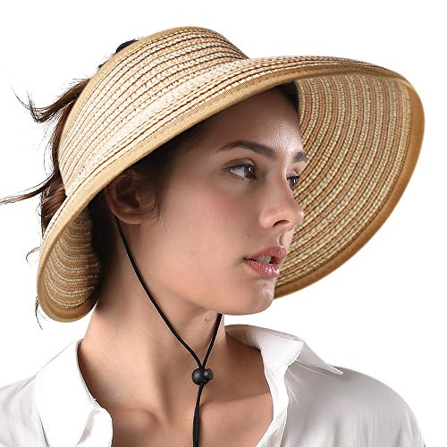 (Sun Visor Summer Hats for Women Foldable Packable Wide Brim Straw Hat UV Protection UPF 50 Ponytail Beach Hat)