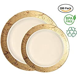 Party Joy 200-Piece Plastic Dinnerware Set | Marble Collection | (100) Dinner Plates & (100) Salad Plates | Heavy Duty Premium Plastic Plates for Wedding, Parties, Camping & More (Gold)
