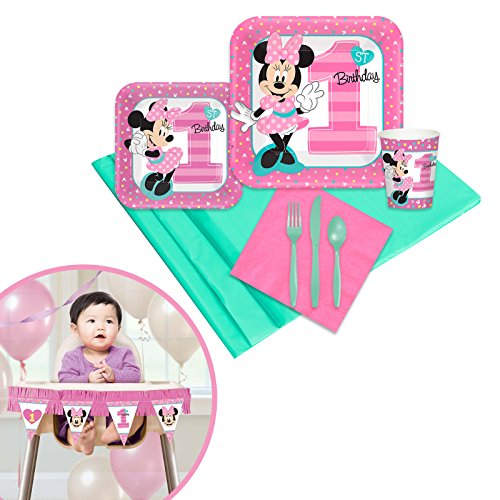 Minnie Mouse 1st Birthday Party Supplies Tableware High Chair Decoration Kit