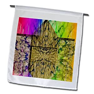 Jos Fauxtographee Abstract - Pink, Gold, Yellow and Green Striated and Textured - 18 x 27 inch Garden Flag (fl_59360_2)