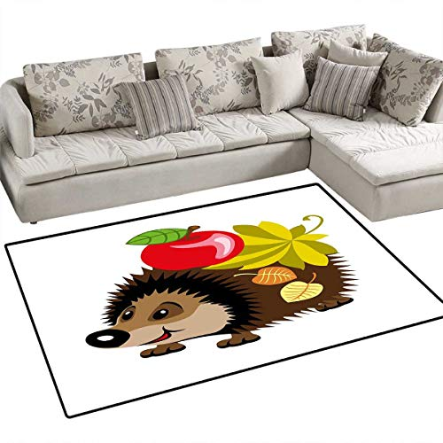 Hedgehog Bath Mat 3D Digital Printing Mat Cartoon Spiky Animal with Leaves and an Apple Smile Happiness Nature Inspirations Door Mat Increase 48