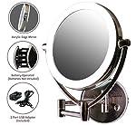 Ovente Espejo de maquillaje con luz LED para pared, 9.5 pulgadas, funciona con batería o adaptador USB, regulable...