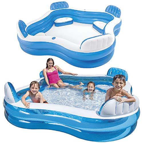 51wLLkYTqGL. SS500 Piscina hinchable Intex de vinilo con forma cuadrada, medidas: 229 x 66 cm y capacidad para 990 litros/agua Piscina hinchable con 4 asientos y respaldos hinchables para mayor comodidad y relajación Piscina de color blanco y azul, incluye 2 posavasos en la lona de la piscina