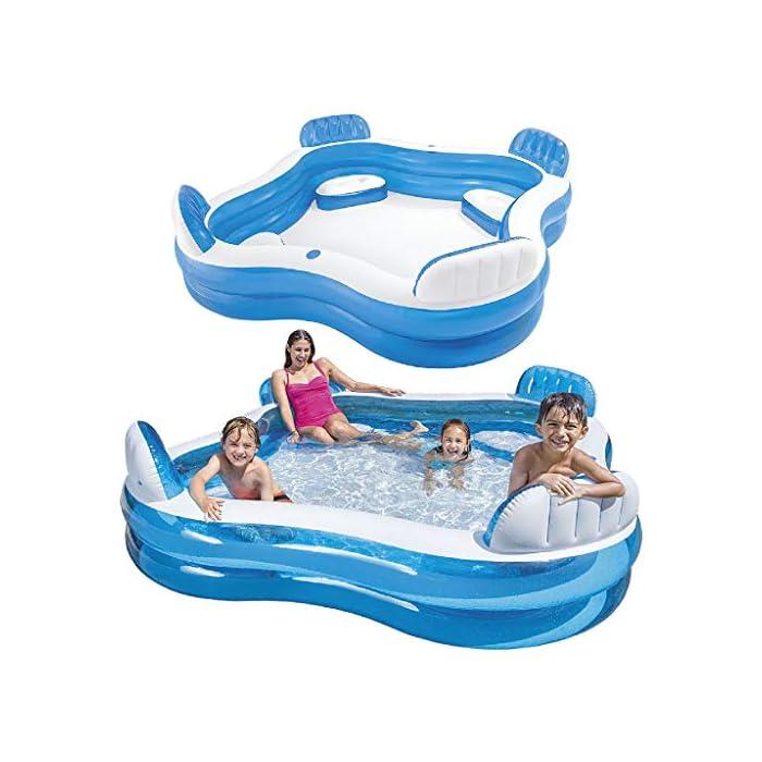 51wLLkYTqGL Piscina hinchable Intex de vinilo con forma cuadrada, medidas: 229 x 66 cm y capacidad para 990 litros/agua Piscina hinchable con 4 asientos y respaldos hinchables para mayor comodidad y relajación Piscina de color blanco y azul, incluye 2 posavasos en la lona de la piscina