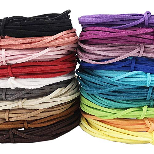 (Micro-Fiber Flat Leather Lace Beading Thread Faux Suede Velvet Cord String for Bracelet Making (A: Mix 20 Colors Each 5 Yards))