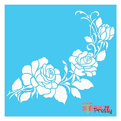 "Large & Small Corner Flower Rose Stencil - S (10"" x 9"")"