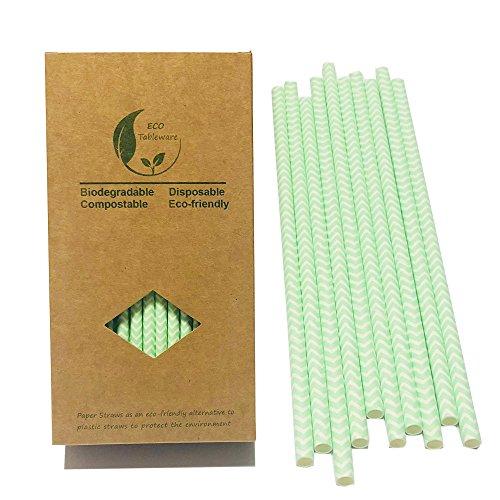 Mint Green Chevron Wave Paper Drinking Straws, Bright Mint Green Wave Chevron Paper Straws 100PCS ()