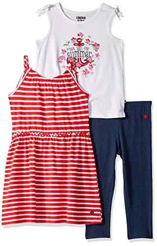 Limited Too Girls' Little Sleeveless Dress, Tank Top and Legging Set, Summer Stripe Multi, 6