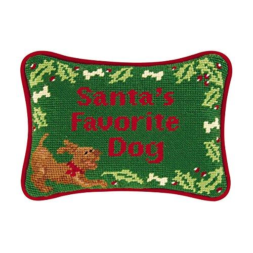 C&F Home Santa's Favorite Dog Needlepoint Pillow 6.5 x 9 Green