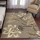 "Orian Rugs Floral Sabrina Light Grey Area Rug (3'11"" x 5'5"")"