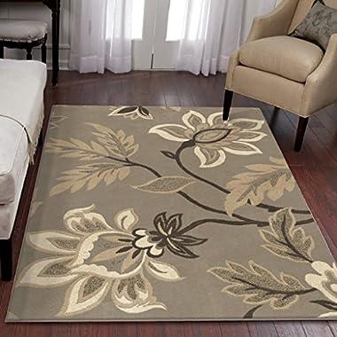 Orian Rugs Floral Sabrina Light Grey Area Rug (5'3  x 7'6 )