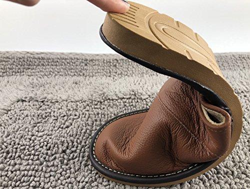 Femme Café Bureau Luxe Souple Fluidale Texture Pantoufles Cuir Maison Glissant Mode Mules Homme Anti Confortable OSVINO qwRZn58xn