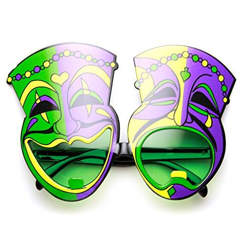 zeroUV - Mardi Gras Laugh Now Cry Later Comedy Festival Mask Sunglasses (Green-Purple - Sunglasses Comedy