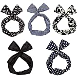 Sea Team Twist Bow Wired Headbands Scarf Wrap Hair Accessory Hairband (5 Packs)