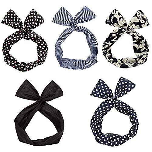 Twist Bow Wired Headbands Scarf Wrap Hair Accessory Hairband by Sea Team(5 Packs) ()