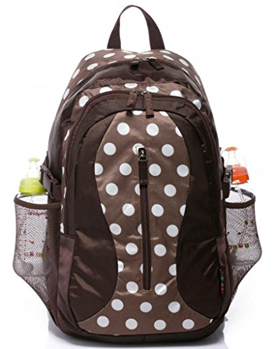Top Quality New Fashion Pretty Baby Diaper Nappy Changing Backpack Bag (coffee with white dot)