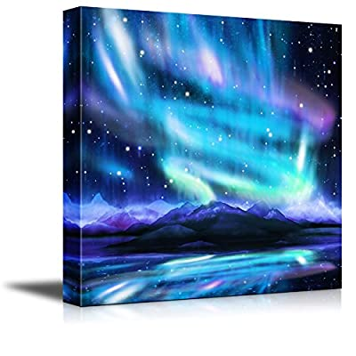 Canvas Prints Wall Art - Northern Lights,Aurora Borealis,Dramatic Landscape | Modern Wall Decor/Home Decoration Stretched Gallery Canvas Wrap Giclee Print. Ready to Hang - 24