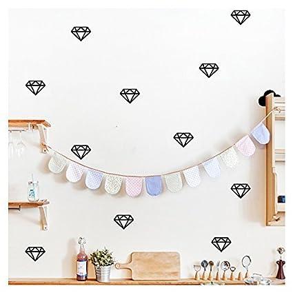 Amazon.com: Libretone 30PCS black diamond wall decor wall decals for ...