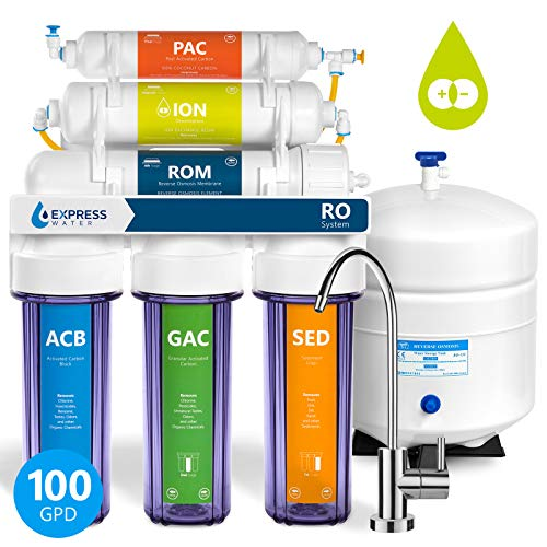 Express Water 6 Stage Deionization + Reverse Osmosis Filtration System 100 GPD RO Membrane Clear Housing DI Resin Ion Exchange Filter Residential Home Under Sink Drinking Water Purification RODI10MC ()