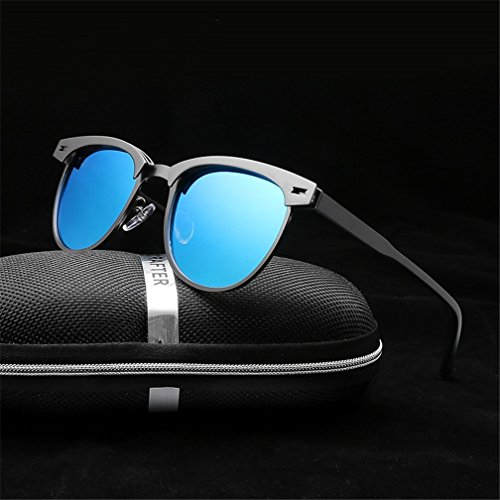 Polarized Driving Sunglasses Frame Metal Black Classic Moda Half Sunglasses Black LUHUIYUAN 1wxfq0BS