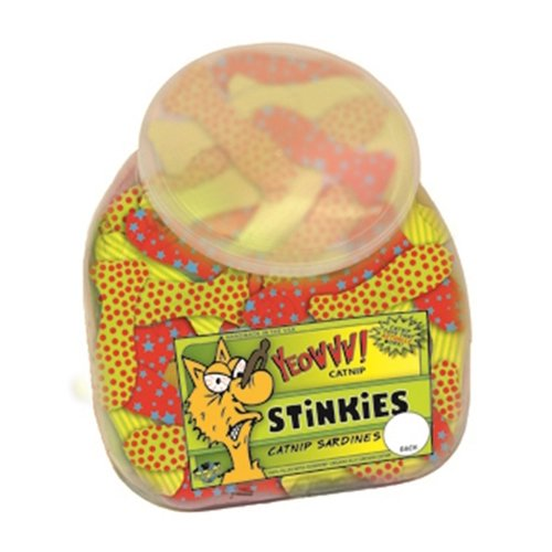 Yeowww! Fish Bowl with School of 51 Stinkies Catnip Toys