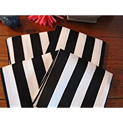 Napkins Set of 4pcs Black & White Striped Cotton Cloth Cute 21x21