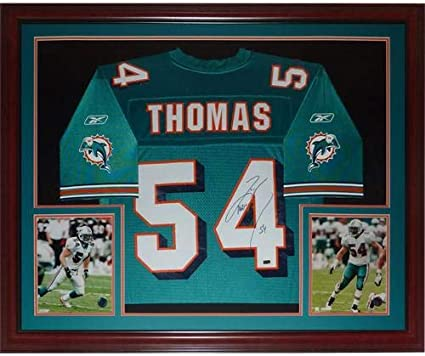 Zach Thomas Autographed Miami Dolphins (Teal #54) Deluxe Framed ...