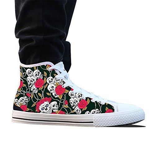 Witte Rose Dames Custom Hoge Canvas Schoenen Top Klassieke Schedel 0xqZwOvC