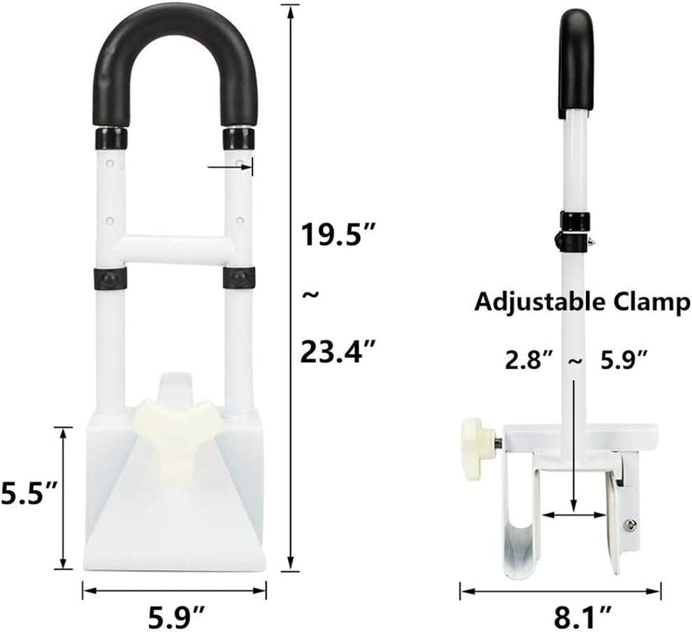 Adjustable Bathtub Safety Rails Frame Bathroom Shower Grab Bar Non-Slip in and Out of The Bathtub for Seniors and Handicap Home Hotel Steel Heavy Duty Handrail 350lbs Support YAYADU (Color : White)