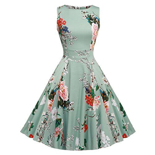 Retro Dress 1950s Flora Print Summer Elegant Casual Dress for Women Semi-Formal Party Dress for Teens For (Pretty Dresses For Teens)