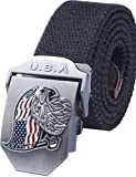 Menschwear Men's Adjustable Canvas Belt Metal Buckle Military Style 120CM Black
