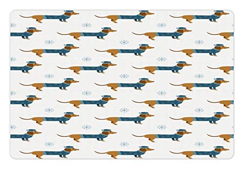 Ambesonne Dachshund Pet Mat for Food and Water, Winter Cartoon Sausage Dog in Pullover and Snowflakes, Rectangle Non-Slip Rubber Mat for Dogs and Cats, Ginger Dark Turquoise Pale Blue White