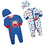 BABY TOWN Baby Boys Cars Sleepsuit Set - 2 Piece Babygrow, Cradle Cap Bundle 2 Pack up to 5LBS