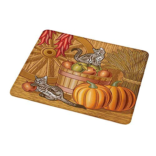 Portable Mouse pad Custom Harvest,Retro Barn with Two Kittens Pumpkins Dried Peppers Apples in Basket Wheat,Vermilion Orange Tan,Non-Slip Rubber Mousepad 9.8