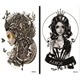 Latest new design and hot selling realistic tattoo stickers 2pcs in one package, it's including trial girl with flying butterflies and fashion girl temporary tattoos