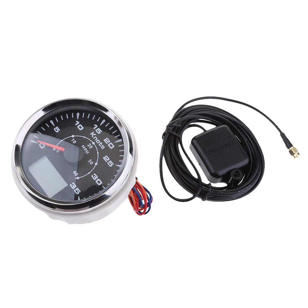 Homyl 3-3/8 inch 85mm 8 Backlight Universal GPS Speedometer 0-35Knots 0-40MPH GPS Speed Odometers Gauges Indicators for Boat Yacht - Black Dial Chrome Bezel