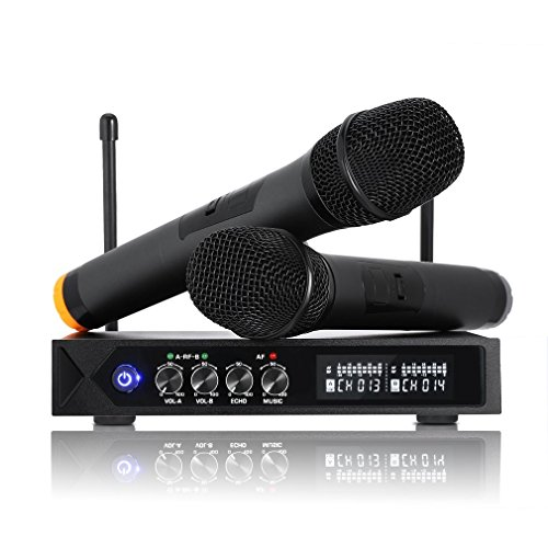 LESHP S9-UHF Professional Wireless LCD Microphone System with 2 Handheld...