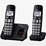 PANASONIC DECT 6.0 Expandable Cordless Phone System with Answering Machine and Call Blocking - 2 Handsets - KX-TGE432B (Black) (Renewed)