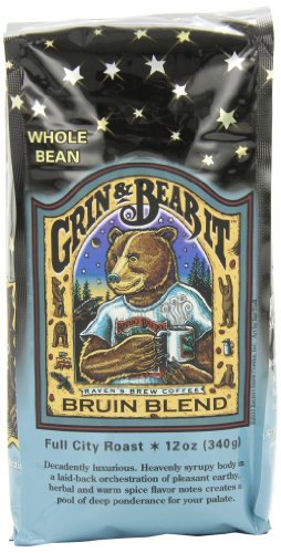 Raven's Brew Whole Bean Bruin Blend, 12-Ounce Bags (Pack of 2)