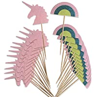 Unicorn and Rainbow Cupcake Topper  | Glittery Food Skewers with Food-Safe Wooden Pick | Set of 24 | Used for Cupcakes, Drinks and Party Decor | Fun Alternative to Drink Umbrellas