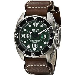 Men's U.S. Navy WA435L C3 Stainless Steel Swiss Quartz Watch by Wrist Armor - Brown Leather Strap